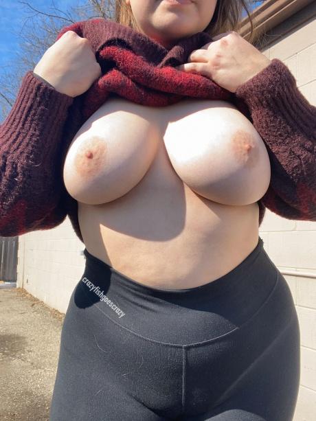 Crazyfishgoescrazy Huge Natural Boobs in Public