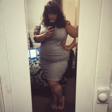 Chubby Tattooed BBW Babe in a Mini Dress